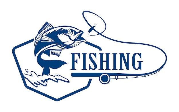 Logo di pesca Vettore Premium