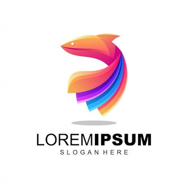 Logo di pesce colorfull Vettore Premium