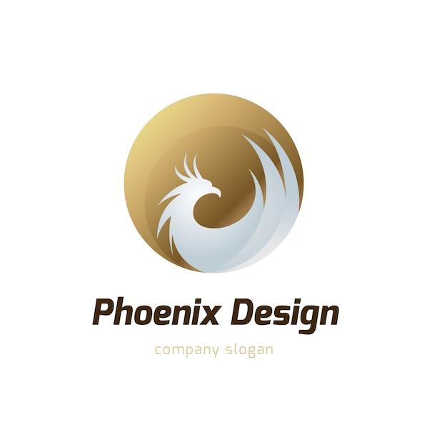 Logo di phoenix, simbolo di aquila e di uccello. modello di logo vettoriale. Vettore Premium