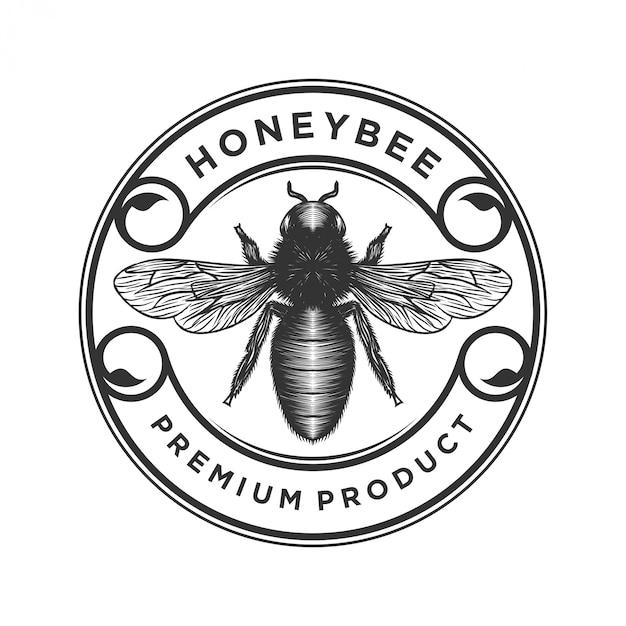 Logo di prodotti di miele o miele delle api Vettore Premium