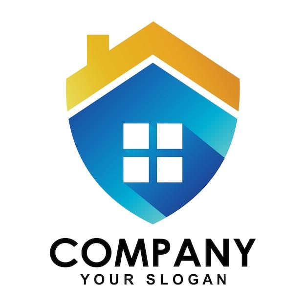 Logo di protezione domestica Vettore Premium
