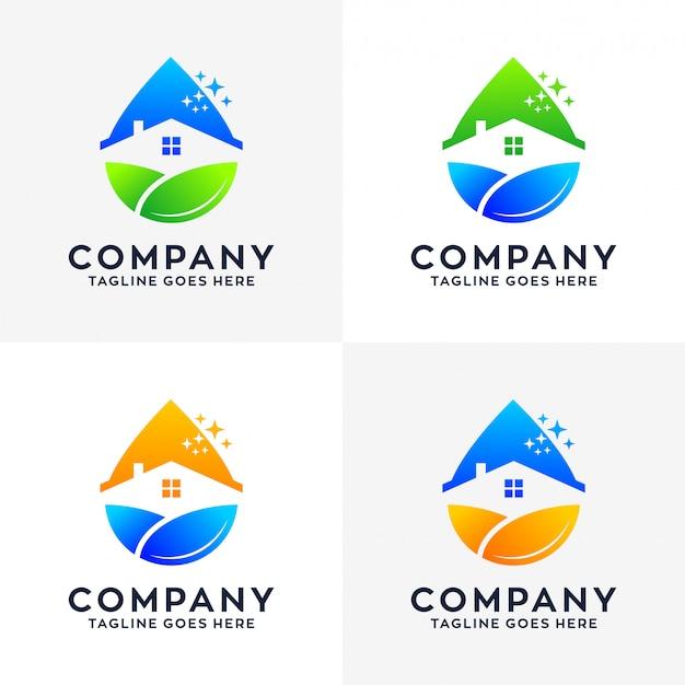 Logo di pulizia della casa Vettore Premium