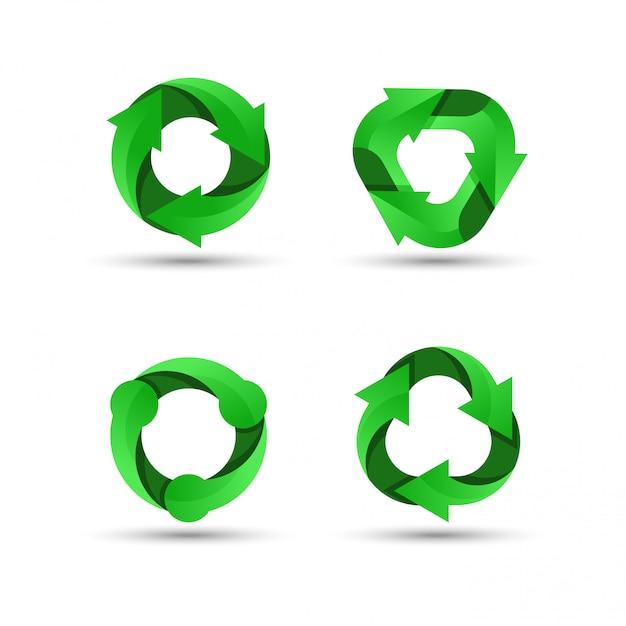 Logo di riciclaggio verde Vettore Premium
