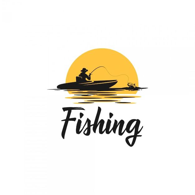 Logo di sagoma di pesca Vettore Premium
