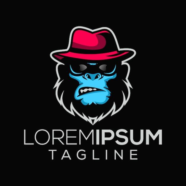 Logo di scimmie boss mafioso Vettore Premium