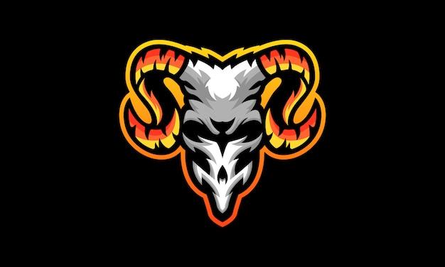 Logo di sport di teschio di capra Vettore Premium
