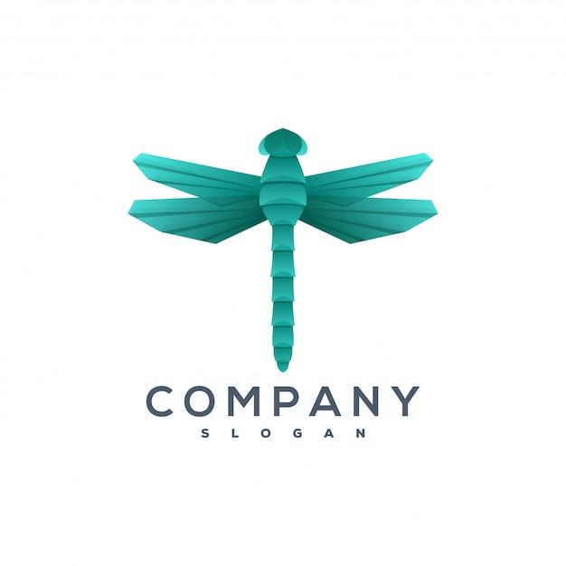 Logo di stile origami libellula Vettore Premium