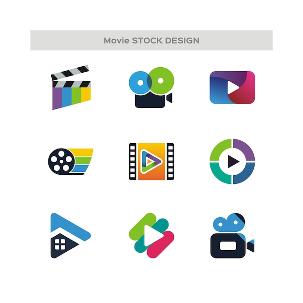 Logo di stock stock movie Vettore Premium