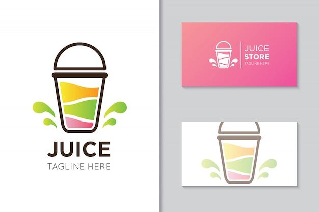 Logo di succo e modello di biglietto da visita Vettore Premium