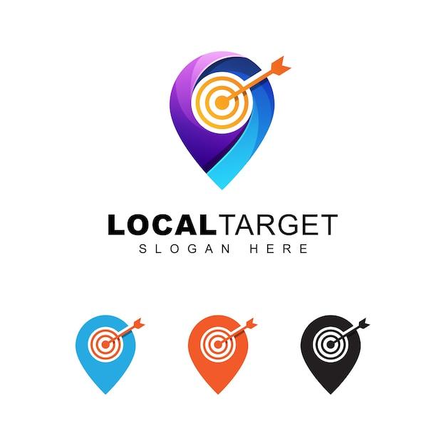 Logo di targeting per target locale o pin moderno a colori Vettore Premium