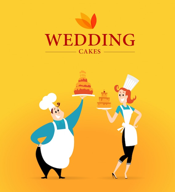 Logo di torte nuziali e personaggi del cuoco. illustrazione. Vettore Premium
