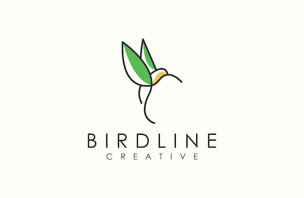 Logo di uccello contorno moderno Vettore Premium