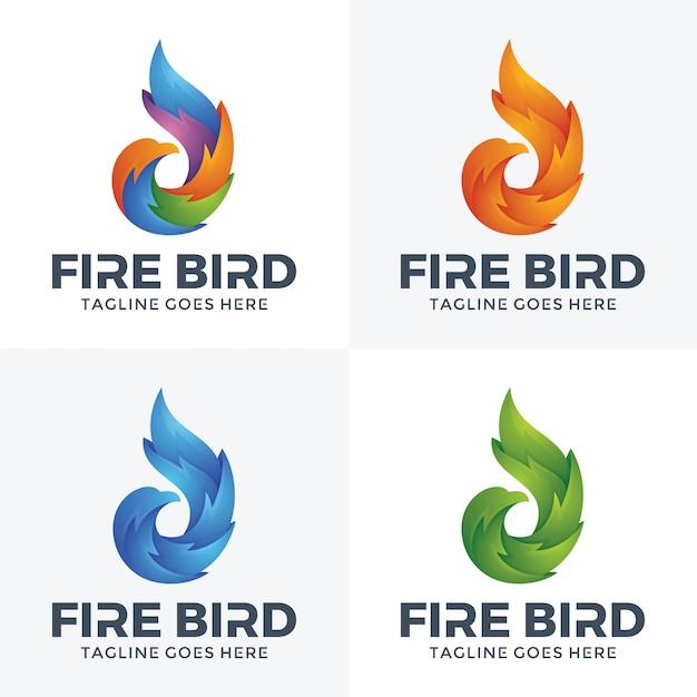 Logo di uccello moderno fuoco con stile 3d. Vettore Premium