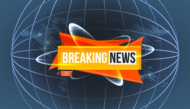 Logo di ultime notizie sulla mappa del mondo Vettore Premium