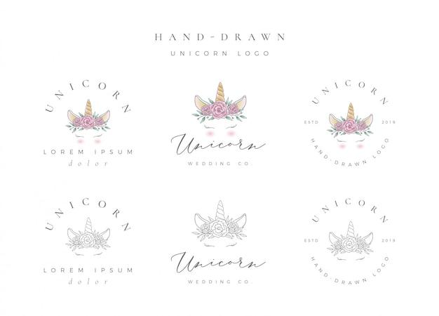 Logo di unicorno disegnato a mano Vettore Premium