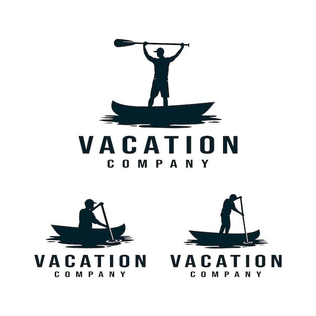 Logo di vacanza, kayak, canoa. canottaggio uomo Vettore Premium
