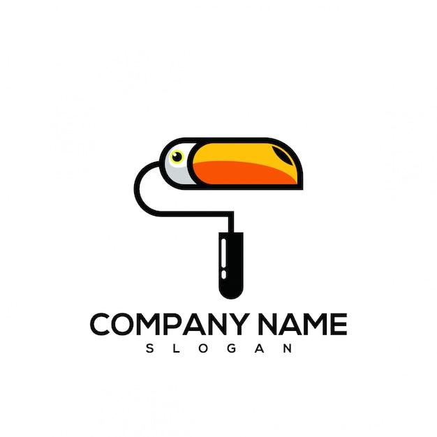 Logo di vernice tucano Vettore Premium