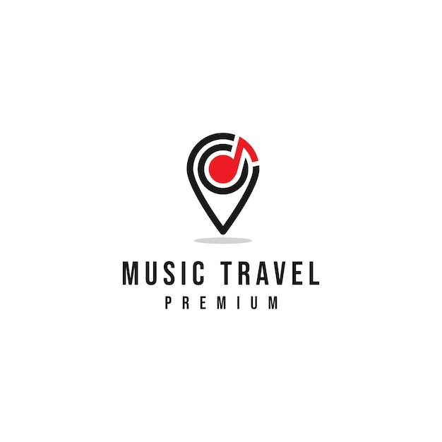Logo di viaggi musicali Vettore Premium