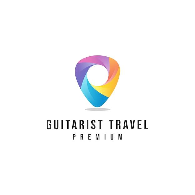 Logo di viaggio del chitarrista Vettore Premium