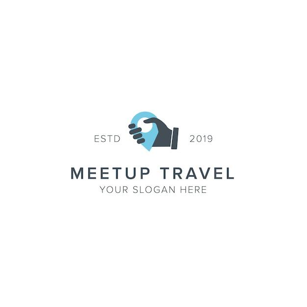 Logo di viaggio meetup Vettore Premium