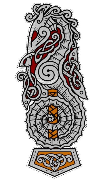 Logo di viking sea warriors Vettore Premium