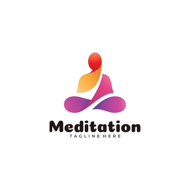 Logo di yoga di meditazione colorato astratto Vettore Premium