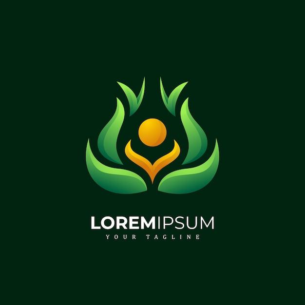 Logo di yoga di meditazione della natura astratta di colorfull Vettore Premium