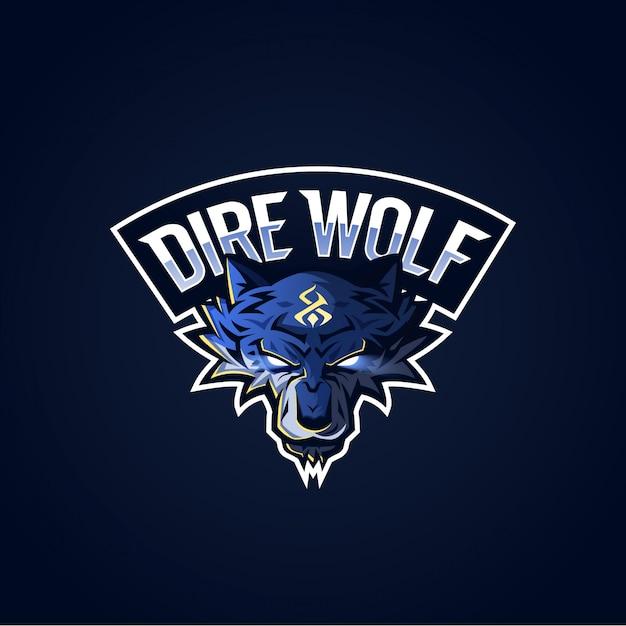 Logo dire wolf esport Vettore Premium