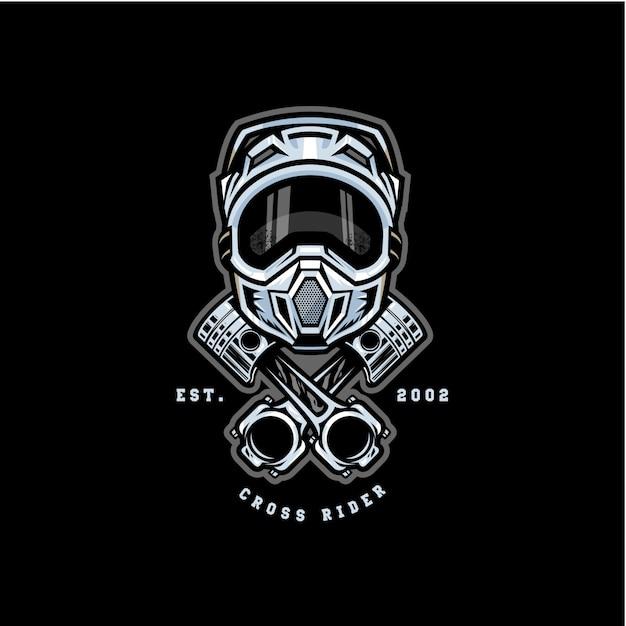 Logo distintivo cross motocross cross Vettore Premium
