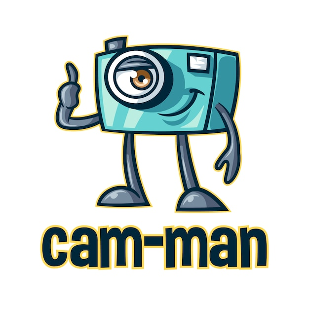 Logo divertente della mascotte del personaggio dei cartoni animati della macchina fotografica Vettore Premium