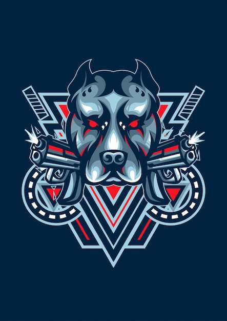 Logo dog esport Vettore Premium