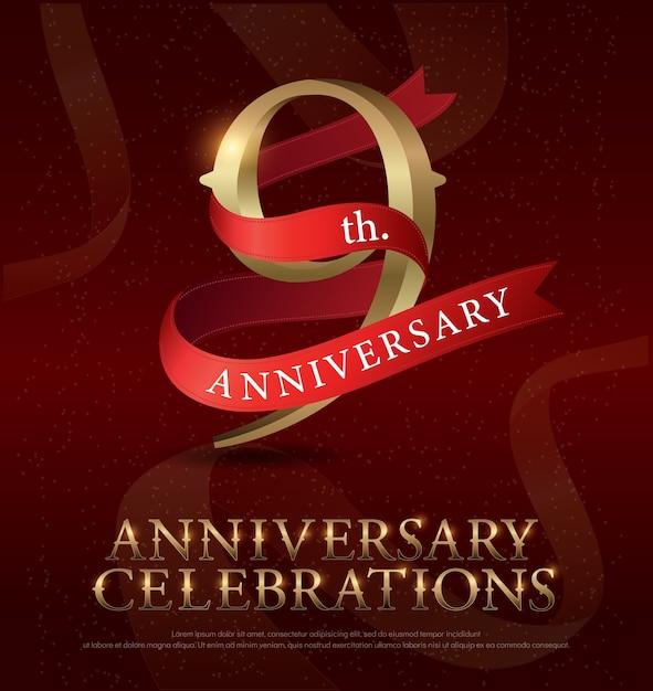 Logo dorato celebrazione 9 ° anniversario Vettore Premium