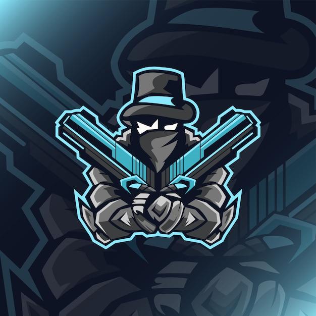 Logo dual gunner mafia e sport Vettore Premium