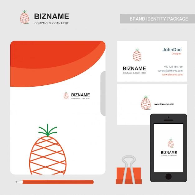 Logo e biglietto da visita di ananas Vettore gratuito