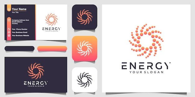 Logo e biglietto da visita di forma rotonda astratta solare. illustrazione stilizzata punteggiata del logotipo del sole. Vettore Premium