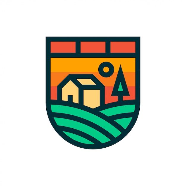 Logo e icona del paesaggio dell'azienda agricola. Vettore Premium