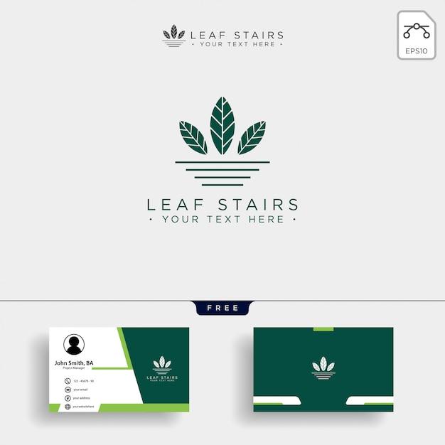 Logo eco creativo con foglie verdi e scale Vettore Premium