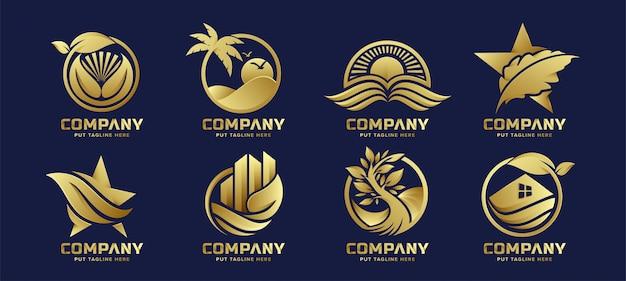 Logo eco natura di lusso premium per start-up e aziende Vettore Premium
