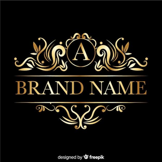 Logo elegante con ornamenti retrò Vettore gratuito