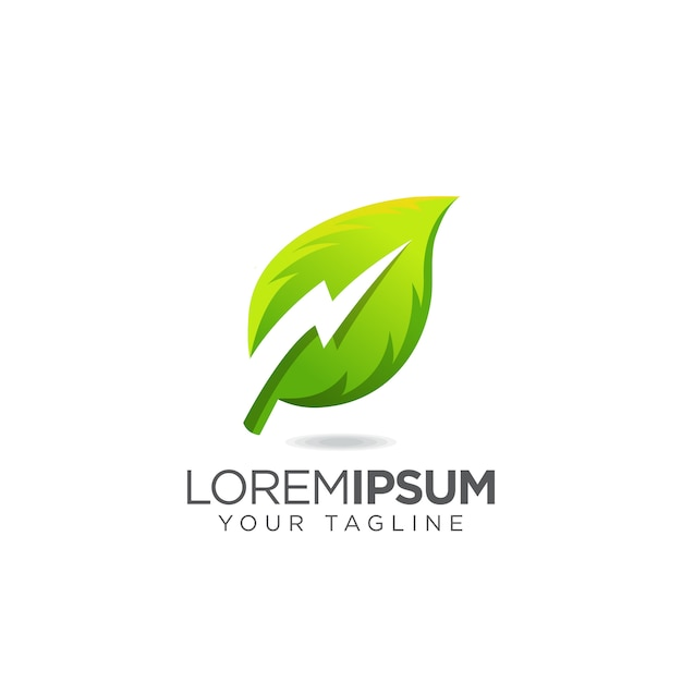 Logo elettrico thunder leaf Vettore Premium