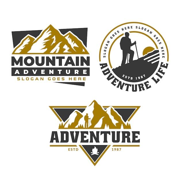 Logo emblema avventura, modello emblema logo montagna, escursioni campeggio Vettore Premium