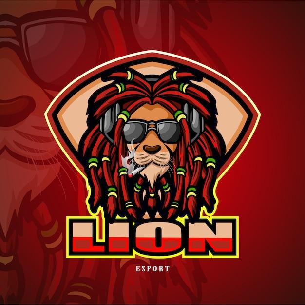 Logo esport leone mascotte testa di leone. Vettore Premium