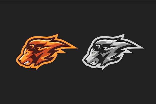 Logo esport leone Vettore Premium