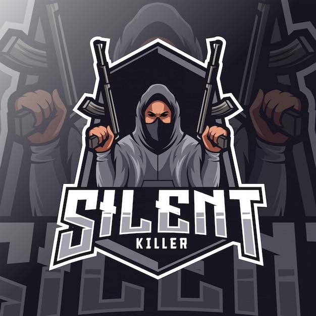 Logo esport mascotte assassino silenzioso Vettore Premium