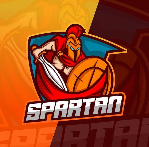 Logo esport mascotte spartano Vettore Premium