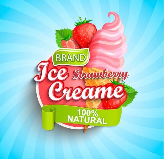 Logo, etichetta o emblema del gelato alla fragola. Vettore Premium