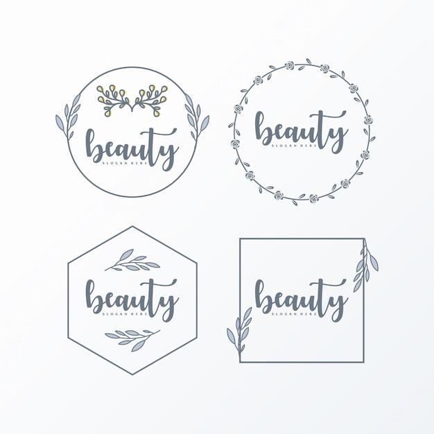 Logo femminile semplice ed elegante Vettore Premium