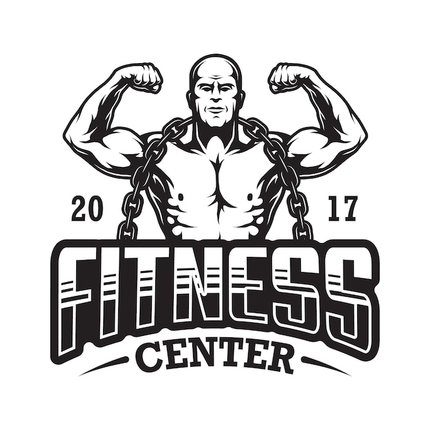 Logo fitness vintage Vettore Premium