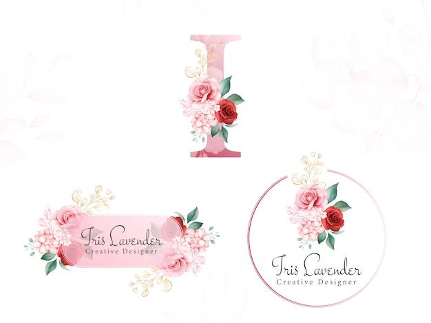 Logo floreale oro dell'acquerello impostato per la prima i di morbidi fiori, foglie e glitter oro. distintivo di fiori premade, monogramma e tratto di pennello Vettore Premium
