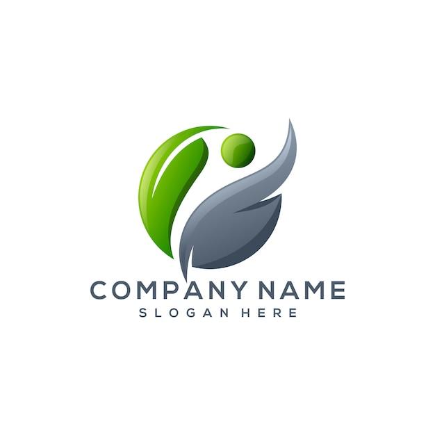 Logo foglia albero Vettore Premium